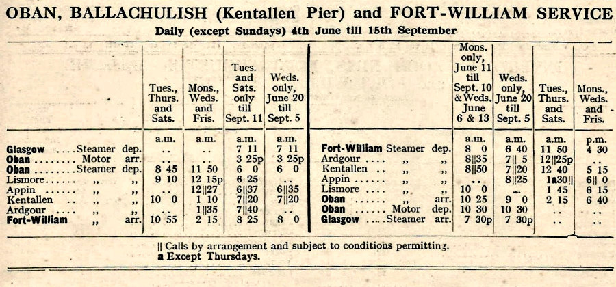 Kentallen Steamer Timetable